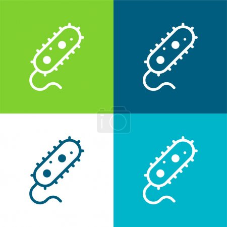 Illustration for Bacteria Flat four color minimal icon set - Royalty Free Image