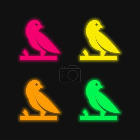 Bird On A Branch four color glowing neon vector icon