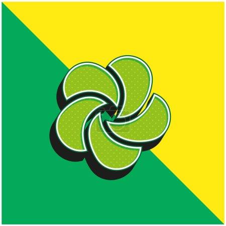 Illustration pour Ayurveda Logo vectoriel 3D moderne vert et jaune - image libre de droit