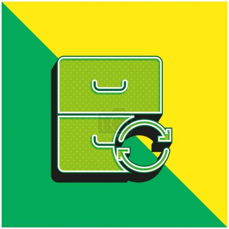Illustration for Archive Green and yellow modern 3d vector icon logo - Royalty Free Image