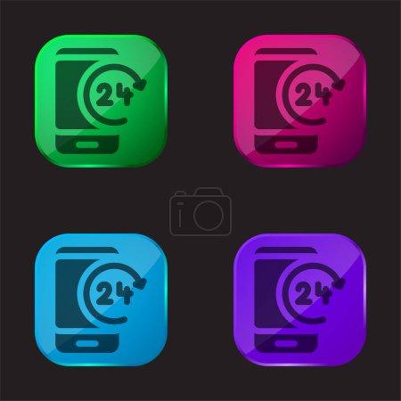 24h four color glass button icon