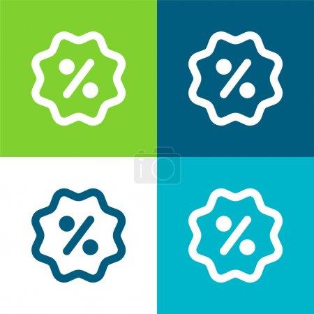Illustration pour Badge Ensemble d'icônes minimal plat quatre couleurs - image libre de droit