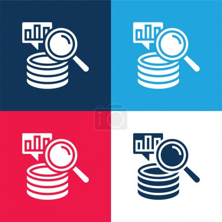 Illustration for Big Data blue and red four color minimal icon set - Royalty Free Image