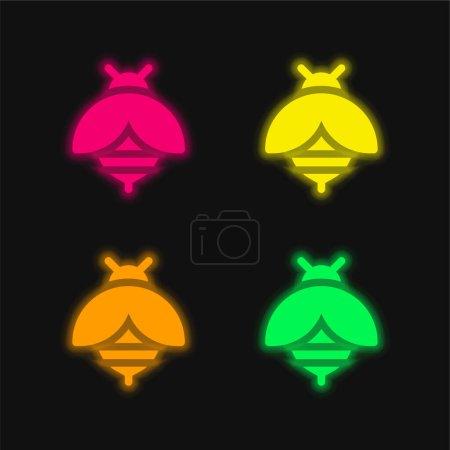 Illustration pour Abeille quatre couleur brillant icône vectorielle néon - image libre de droit