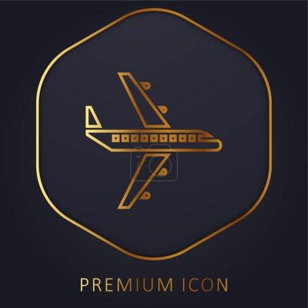 Illustration pour Ligne d'or avion logo premium ou icône - image libre de droit
