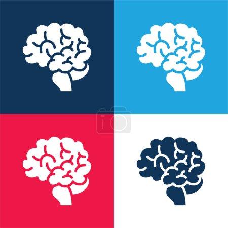 Illustration pour Cerveau bleu et rouge quatre couleurs minimum jeu d'icônes - image libre de droit