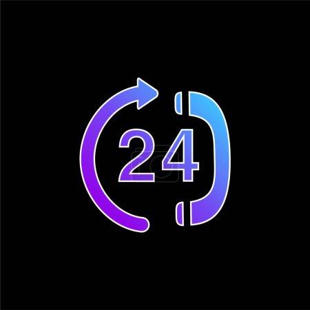 24 horas llamando al centro de servicio icono de vector gradiente azul