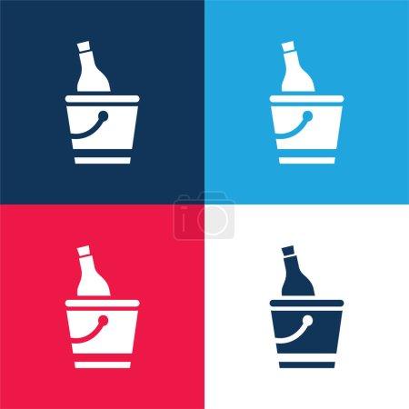 Illustration pour Bouteille et seau à glace bleu et rouge ensemble d'icônes minimales de quatre couleurs - image libre de droit