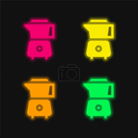 Blender four color glowing neon vector icon