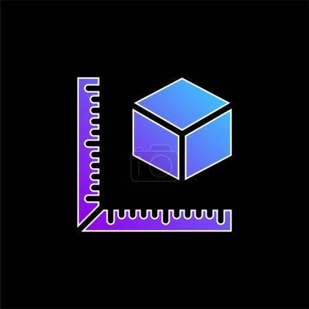 3D-Druck Messen Sie das Symbol des blauen Farbverlaufsvektors