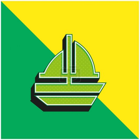 Boat Green and yellow modern 3d vector icon logo
