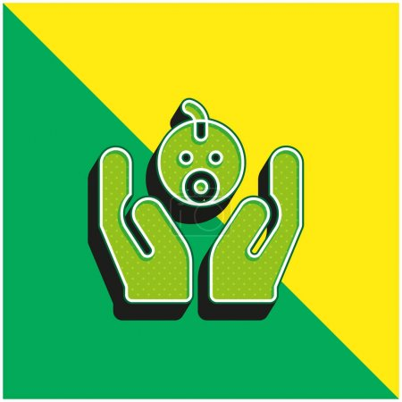 Adoption Green and yellow modern 3d vector icon logo