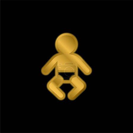 Photo pour Bébé plaqué or icône métallique ou logo vecteur - image libre de droit