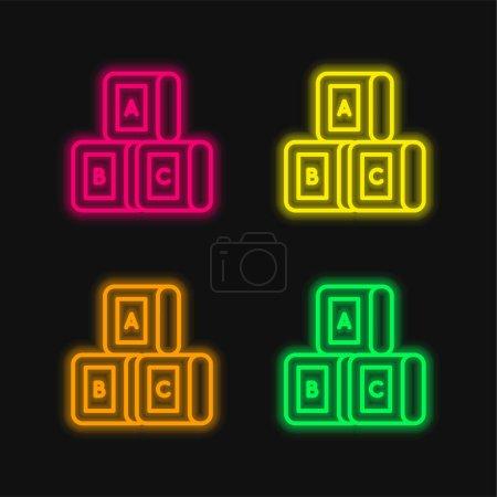 Blocks four color glowing neon vector icon