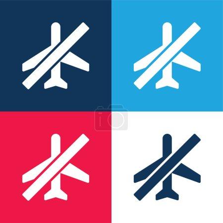 Illustration pour Mode avion bleu et rouge quatre couleurs minimum icône ensemble - image libre de droit