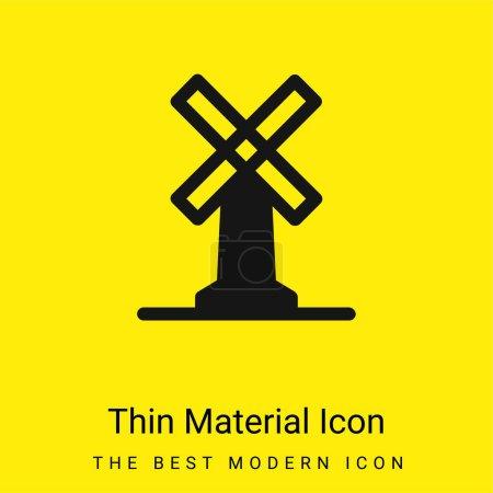 Illustration pour Grand moulin à vent minime icône matérielle jaune vif - image libre de droit