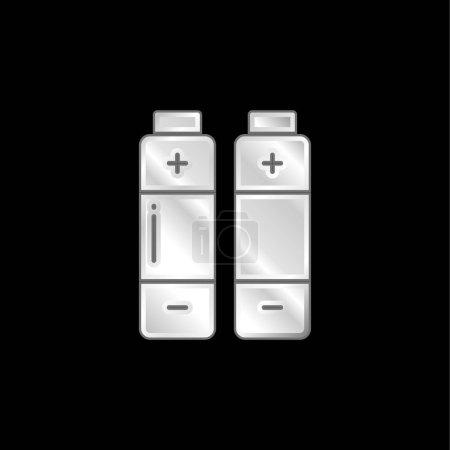Illustration pour Icône métallique plaqué argent batterie - image libre de droit