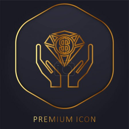 Illustration for Benefits golden line premium logo or icon - Royalty Free Image