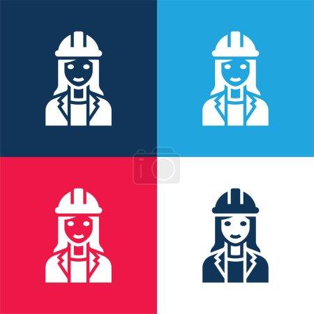 Photo pour Architecte bleu et rouge quatre couleurs minimum jeu d'icônes - image libre de droit