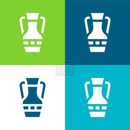Illustration for Amphora Flat four color minimal icon set - Royalty Free Image