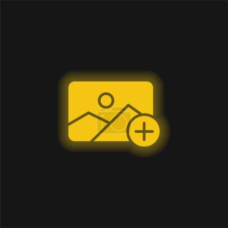 Illustration pour Ajouter une icône jaune néon brillant - image libre de droit