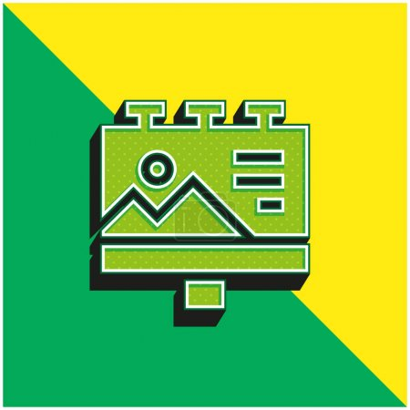 Illustration for Billboard Green and yellow modern 3d vector icon logo - Royalty Free Image