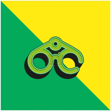 Binoculars Green and yellow modern 3d vector icon logo