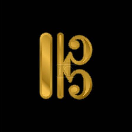 Illustration pour Bar Lines Variante icône métallique plaqué or ou vecteur de logo - image libre de droit