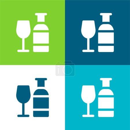 Illustration pour Alcool Ensemble d'icônes minimal plat quatre couleurs - image libre de droit