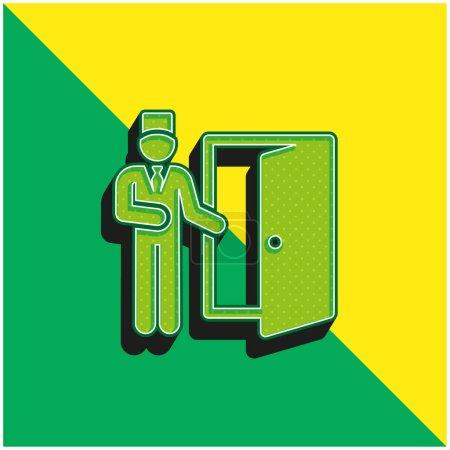 Illustration pour Bell Boy Logo vectoriel 3D moderne vert et jaune - image libre de droit