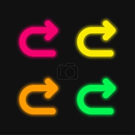 Illustration pour Flèche tournant à droite quatre couleur brillant vecteur néon icône - image libre de droit