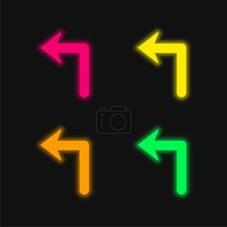 Illustration pour Flèche de grande taille se tournant vers la gauche quatre couleur brillant néon vecteur icône - image libre de droit
