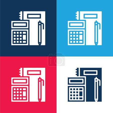 Illustration pour Comptabilité bleu et rouge quatre couleurs minimum jeu d'icônes - image libre de droit