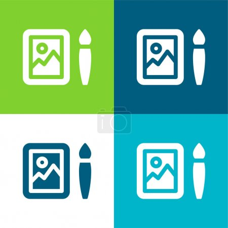 Illustration pour Art Flat quatre couleurs minimum jeu d'icônes - image libre de droit