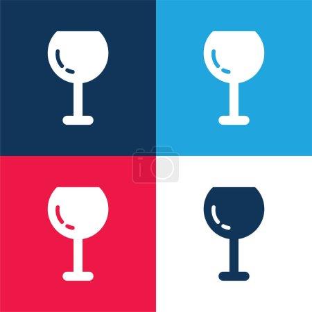 Photo pour Grand verre à vin bleu et rouge ensemble d'icône minimale de quatre couleurs - image libre de droit