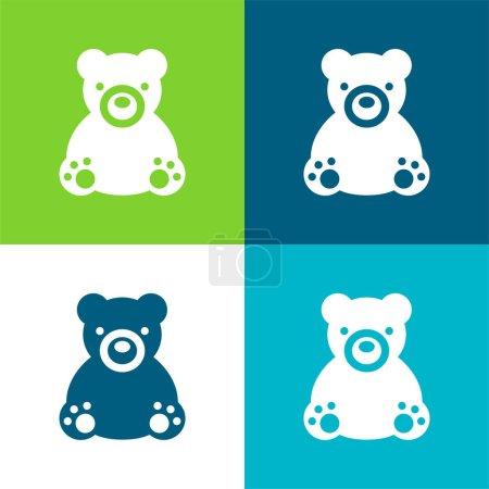Photo pour Ensemble d'icônes minimal Bear Flat quatre couleurs - image libre de droit