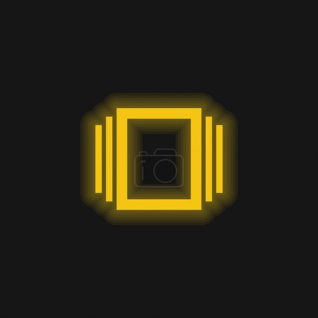 Illustration for Albums yellow glowing neon icon - Royalty Free Image