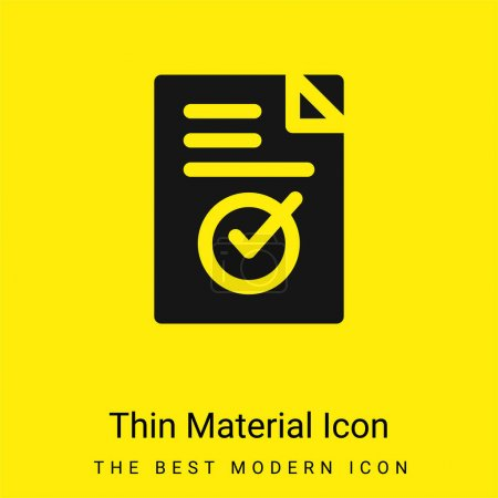 Illustration for Approve minimal bright yellow material icon - Royalty Free Image