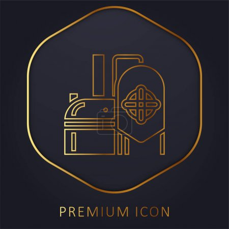 Illustration for Brewery golden line premium logo or icon - Royalty Free Image