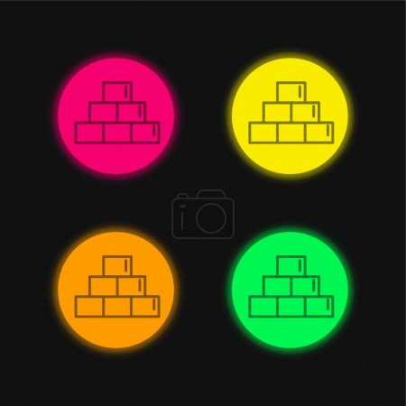 Bricks Outline Symbol Inside A Circle four color glowing neon vector icon