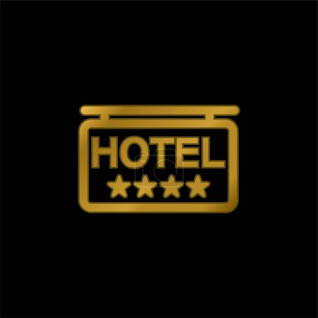 4 Sterne Hotel Signal vergoldet metallisches Symbol oder Logo-Vektor