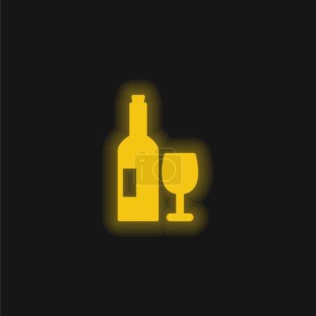Illustration pour Bouteille Et Verre De Vin jaune brillant icône néon - image libre de droit