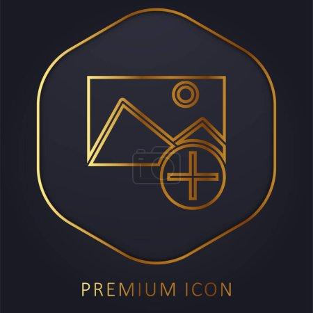 Illustration pour Ajoutez un logo ou une icône premium ligne dorée - image libre de droit