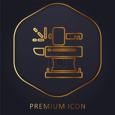 Illustration pour Forgeron ligne d'or logo premium ou icône - image libre de droit
