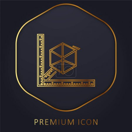 Photo for 3d Printer With Rulers golden line premium logo or icon - Royalty Free Image