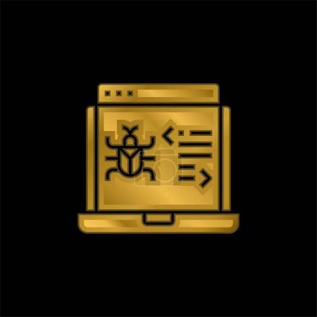 Illustration pour Icône métallique plaqué or antivirus ou vecteur de logo - image libre de droit
