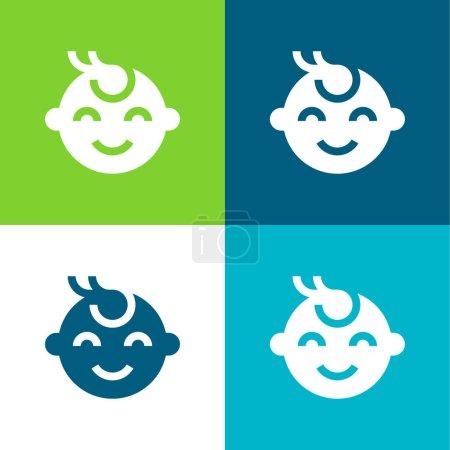Illustration pour Ensemble d'icônes minime bébé garçon plat quatre couleurs - image libre de droit