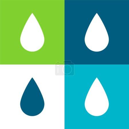 Illustration pour Forme de goutte d'encre noire Ensemble d'icônes minimal plat de quatre couleurs - image libre de droit