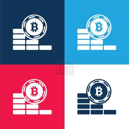 Bitcoin monety idzie w dół niebieski i czerwony czterech kolorów minimalny zestaw ikon