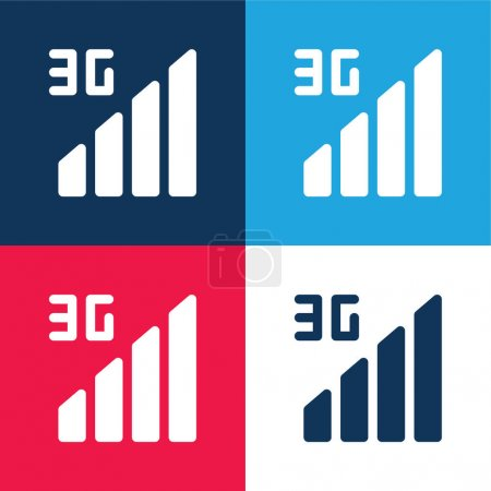 Illustration for 3g blue and red four color minimal icon set - Royalty Free Image